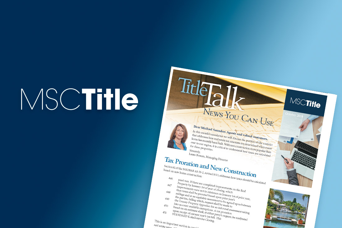 Title Talk: New Homes and Florida Real Estate Taxes